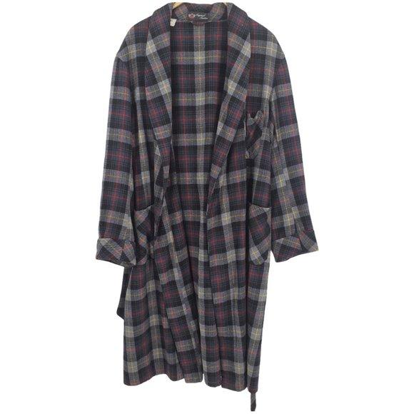 Vintage Gray Black Wool Blend Plaid Flannel Robe